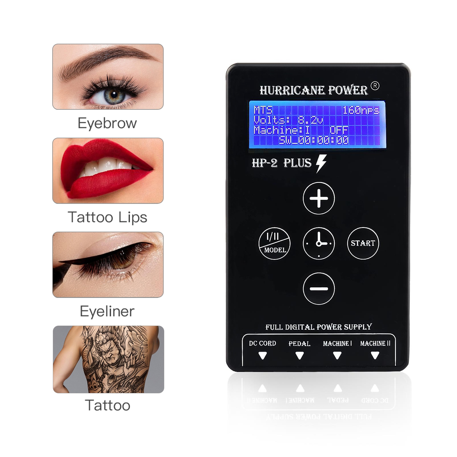 HP-2 Plus Digital LCD Tattoo Power Supply Hurricane Rotary Tattoo Machine Tattoo Supplies Permarent Makeup Tattoo Power Supply mini tattoo digital power supply with knob to adjust voltage 2 tattoo foot pedal mode black tattoo power supply with led lights