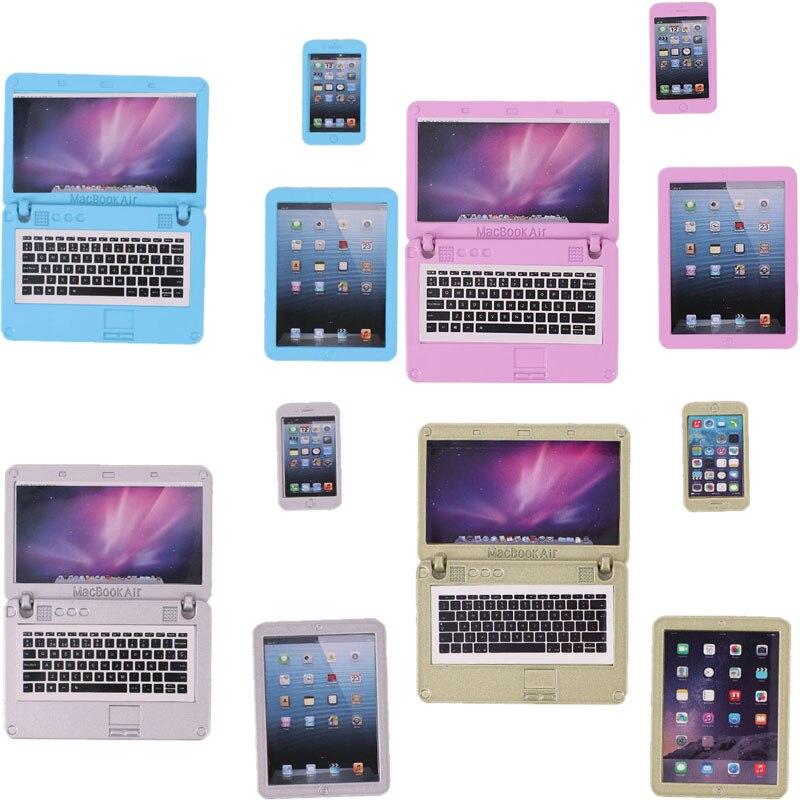 Аксессуары для кукол 6 дюймовые ноутбуки в четырех стилях, подходит для детей с рождественской игрушки и подарки на день рождения