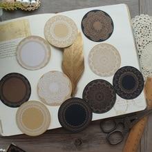 60pcs DIY Kraft Black Paper Round Lace Stamp Frame Design Paper Creative Craft Paper Background Scrapbooking Gift DIY Use