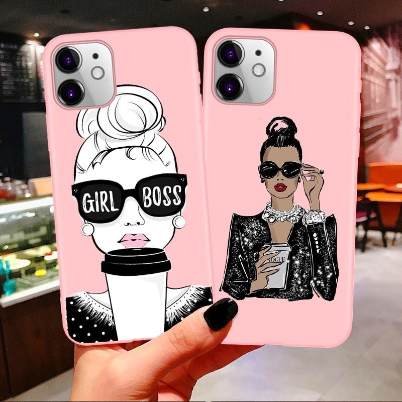 Funda de teléfono de café boss para iPhones 11 Pro Max 2019 chica de moda mamá bebé rosa suave cubierta para iPhones X 7 8 Plus XR XS Max
