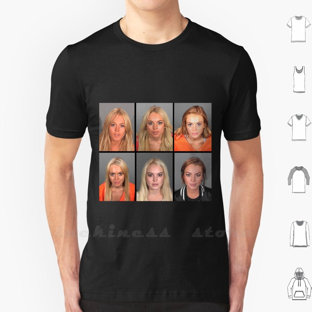 Camiseta de algodón con Mugshots para hombres y mujeres de Lohan Lilo Pop Celebrity Icon 2000S Mugshot Mugshots