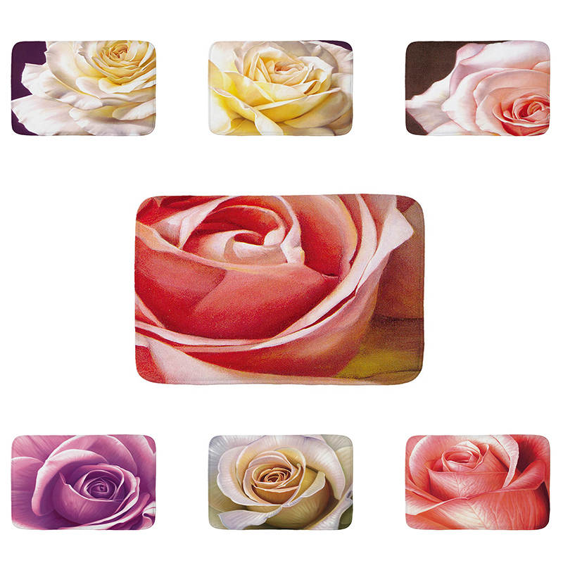 Rose flowers printed Flannel Floor Mat Anti-Slip Tapete Floor Mats Rugs for Kitchen  Bathroom  Doormat welcome mats for front
