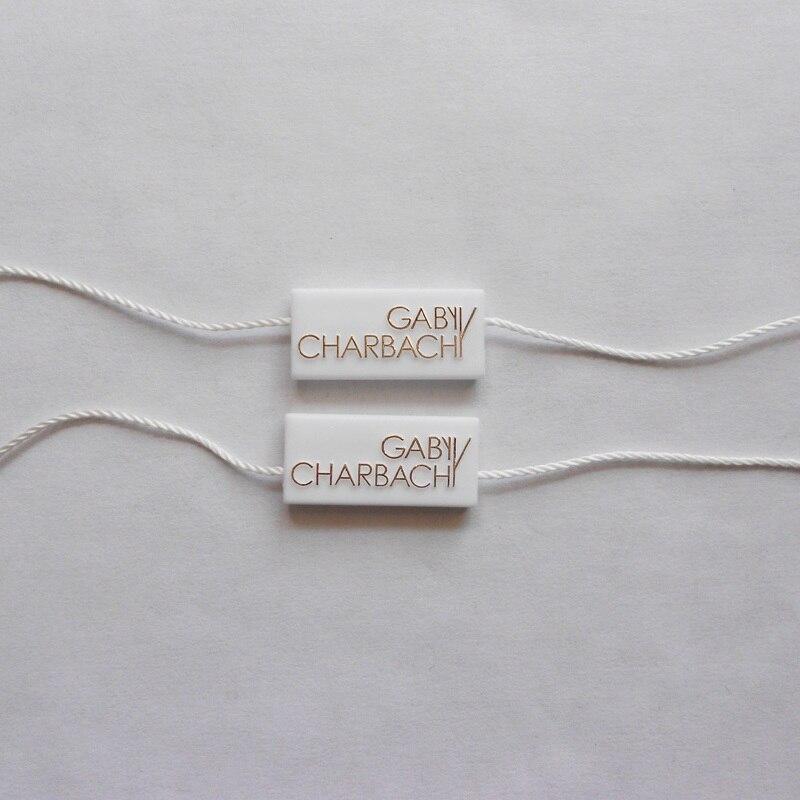 Etiqueta colgante personalizada dorada e impresa, sello de cuerda, (3000 unids/lote) accesorios de ropa, cordón para etiqueta de bloqueo con logotipo de marca