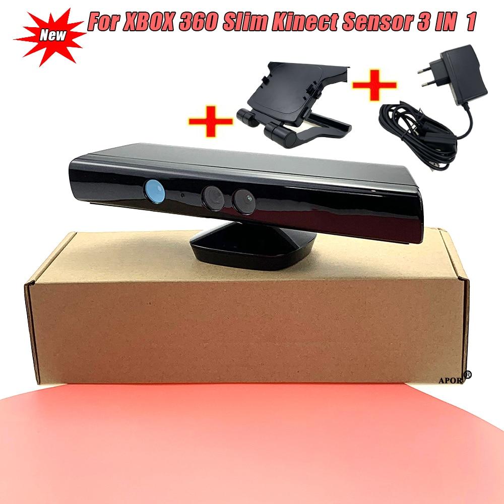 Kinect-مستشعر كاميرا نحيف 3 في 1 ، 2020 أصلي ، متوافق مع xbox 360 ، نحيف ، حساس Kinect مع مشبك تلفزيون ، مصدر طاقة