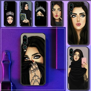 Hijab Face Muslim Islamic Gril Eyes Phone case For Huawei P Mate P10 P20 P30 P40 10 20 Smart Z Pro Lite 2019 black silicone
