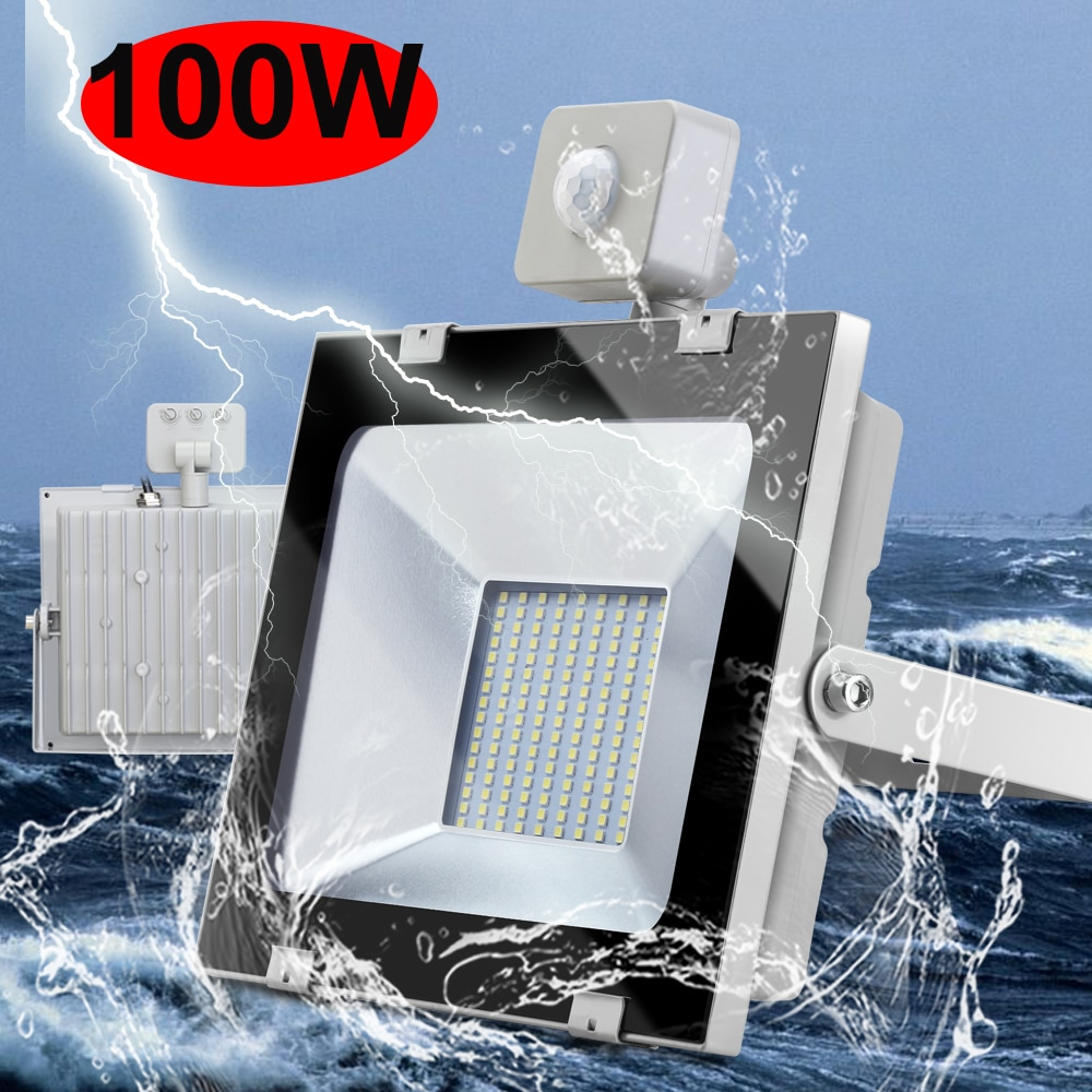 100W 220V 6000K LED PIR Sensor de movimiento Reflector impermeable blanco Reflector al aire libre foco para jardín pared calle Luz