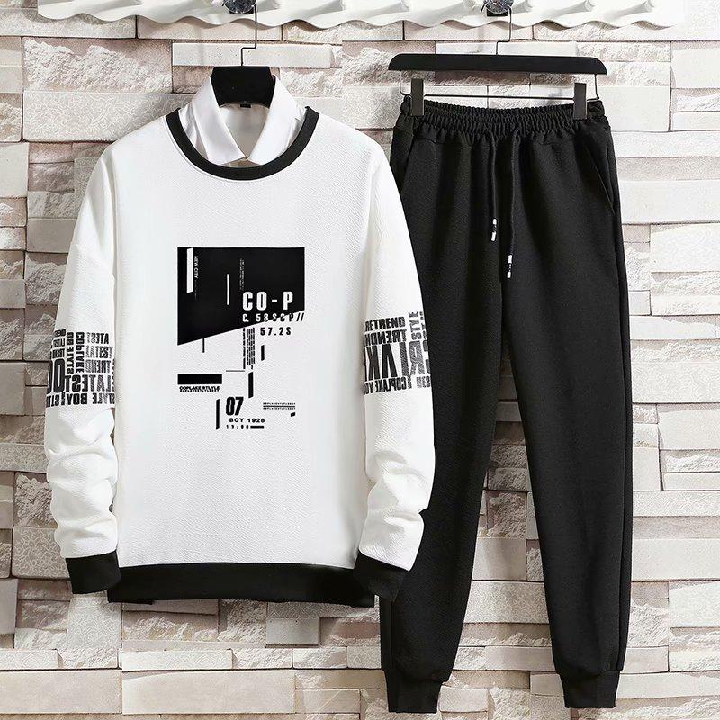 Printemps automne hommes ensembles Hip Hop à manches longues impression t-shirts + couleur unie survêtement pantalons décontractés mode 2 pour ensembles hommes vêtements ensembles