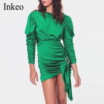 Elegant Satin Slik Dress Women 2020 Spring Long Sleeve Party Dress femme O-neck Hollow out Drape Bodycon Dress Green INKEO 9D078