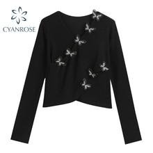 3D Butterfly Design V Neck T Shirt Women Crop Long Sleeve Elegant Stylish Tees Female Bodycon Stretc