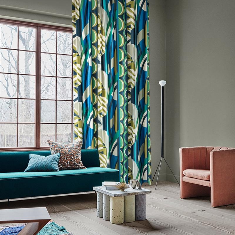 الإبداعية الفاخرة ستائر التعتيم لغرفة النوم غرفة المعيشة سميكة ستارة من القطيفة هندسية مطبوعة الستائر الحديثة الستائر الزرقاء