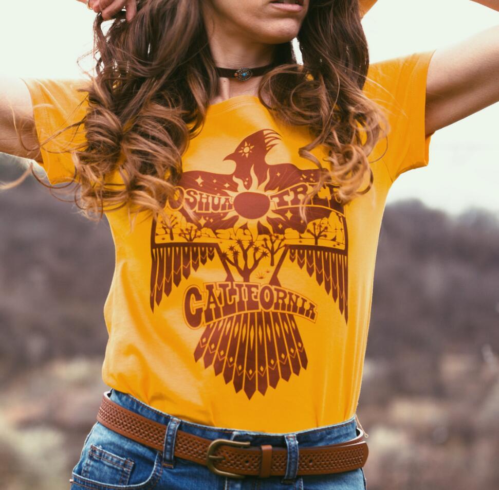 2019 Summer joshua Tree Thunderbird graphic tee Female Plus Size 70s 80s Vintage Gold Tees Funny Southwest Native t shirt Women