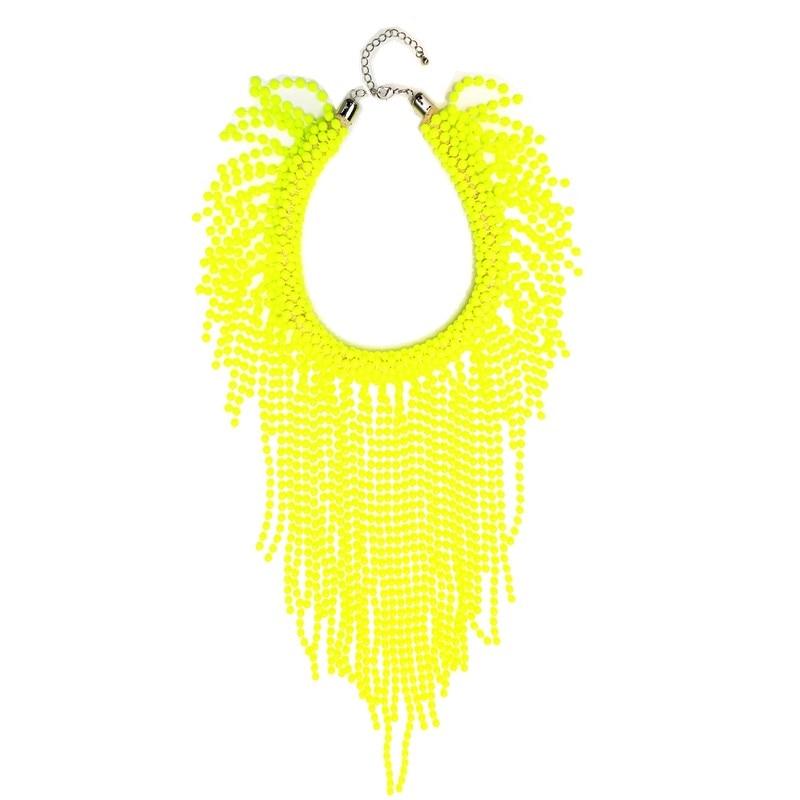 50/LOT European Fashion Neon Yellow Statement Women Long Beading Chokers Star Punk Fluorescence Chunky Tassels Chains Necklace