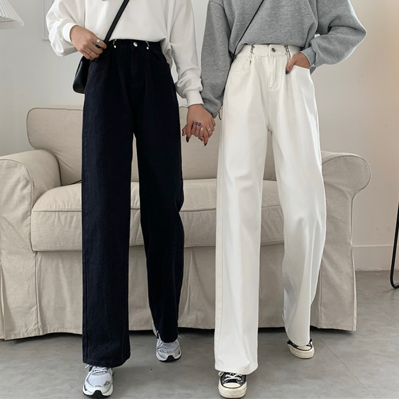 Autumn Pants 2021 New Slim High Waist Jeans Women's Loose Floor Mops Straight Pants Wide Leg Pants F