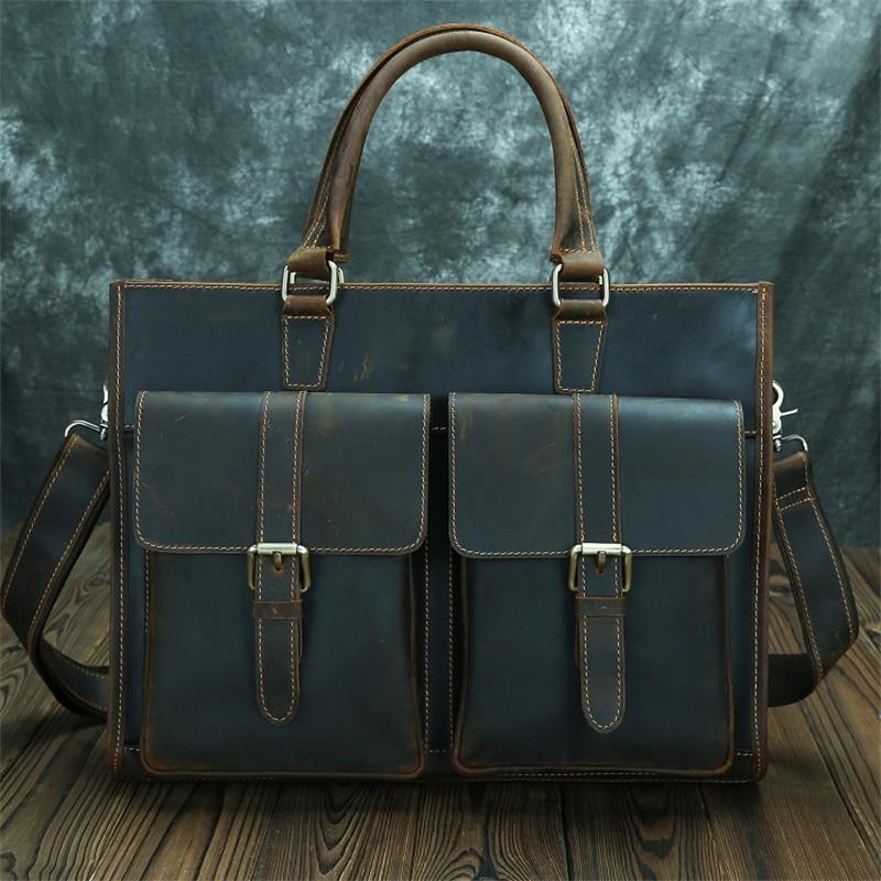 Nesitu Highend A4 Vintage Brown Thick Genuine Crazy Horse Leather Men's Briefcase 14'' Laptop Messen