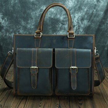 Nesitu Highend A4 Vintage Brown Thick Genuine Crazy Horse Leather Men's Briefcase 14'' Laptop Messenger Bag Portfolio  M009