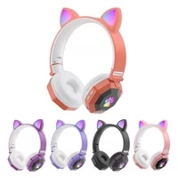 cute cat ear bluetooth compatible wireless headphones luminous foldable bass stereo headset with mic support tf card playback