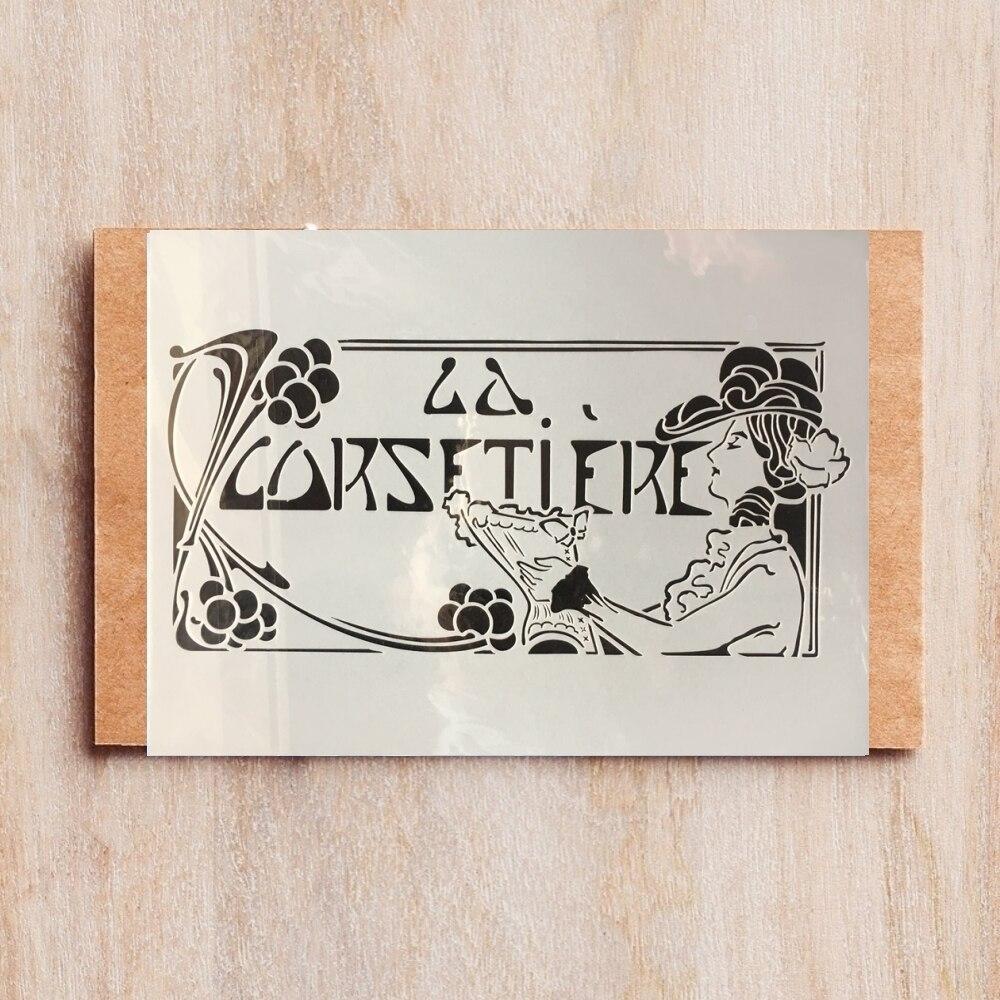 A4 29cm francés señora cercanas bricolaje capas plantillas de pared pintura libro de recortes colorear relieve álbum de plantilla