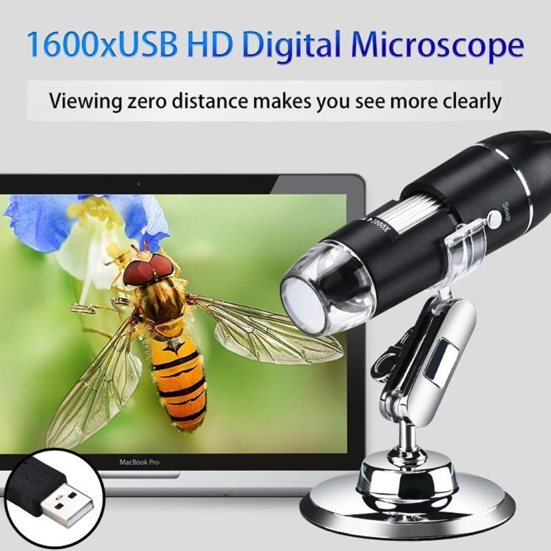 Alloet 1000x 1600x 8 led microscópio digital usb hd portátil portátil microscópio lupa eletrônico estéreo endoscópio câmera