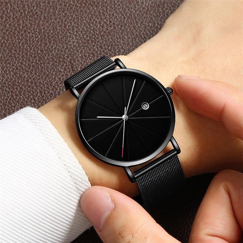 Reloj Geneva de cuarzo para hombre, reloj de pulsera de malla de acero para negocios, popular reloj de hombre con calendario simple, reloj ultrafino para hombre