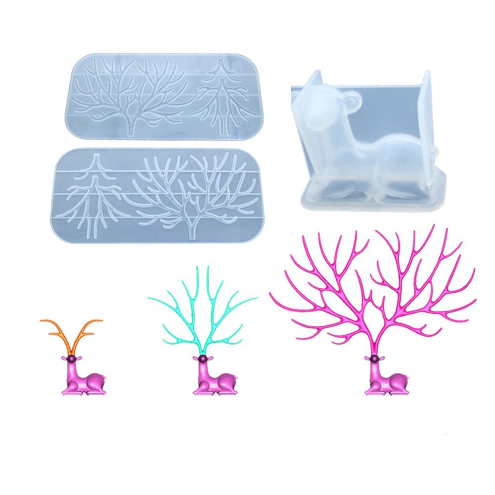 DIY empalme diferentes tamaños de cristal de alce epoxi pegamento silicona ciervos astas Finas ramas de árbol espejo Manual mesa de columpio molde