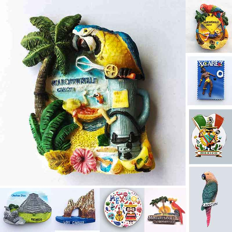 Mexico CANCUN Tourist Souvenirs Fridge Magnets Margaritaville Chichen Itza Magnetic Refrigerator Stickers Home Decoration Gifts tallinn estonia fridge magnets tourist souvenir 3d resin crafts magnetic refrigerator stickers collection decoration gifts