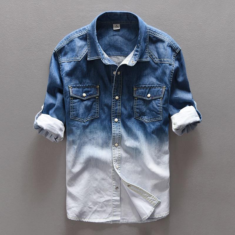 Мужская длинная рубашка из денима, голубая хлопковая рубашка с градиентом, Весна 100%