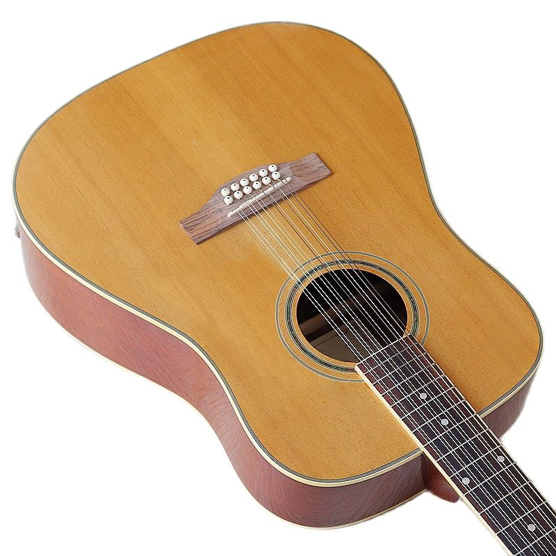 Natural Color 12 Strings 41 Inch Acoustic Guitar Spruce Top with Guitar Pickup Full Size Design High Gloss with Small Flaw enlarge