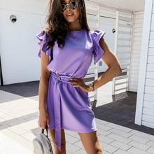 Volants Manches Mode OL Ceinturée Mini Robe 2020 Dété Boho Plage Vacances Street Home Décontracté Robe De Mode Blanc Noir Violet