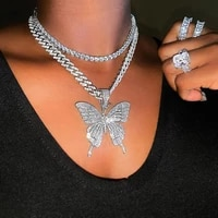 full rhinestones crystal butterfly pendant charm cuban chain necklace hip hop miami curb link chain choker party jewelry gifts