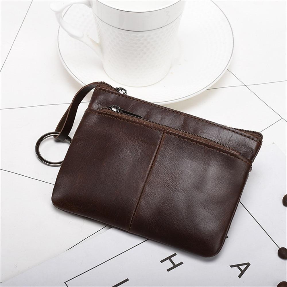 Fashion Mini Purse Genuine Leather Zipper Vintage Short Wallet For Lady Women Men Small Wallet Coin