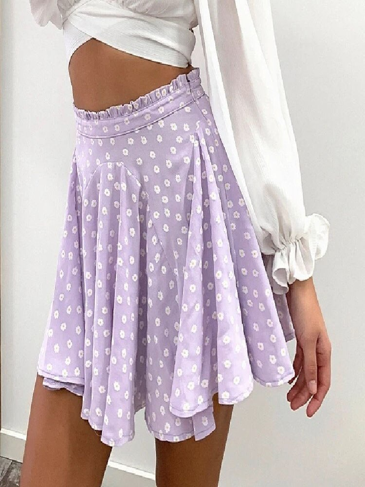 2021 Women's Mini With Daisy Print Skirt Streetwear Fashion Summer High Waist Skirts Plaid Skirts For Women