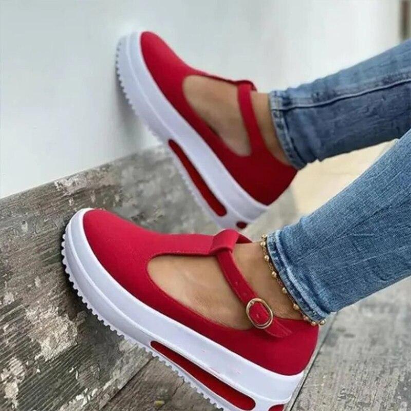 Litthing 2021 New Summer Women Flat Fashion Buckle Strap Platform Flat Casual Ladies Plus Size Shoe