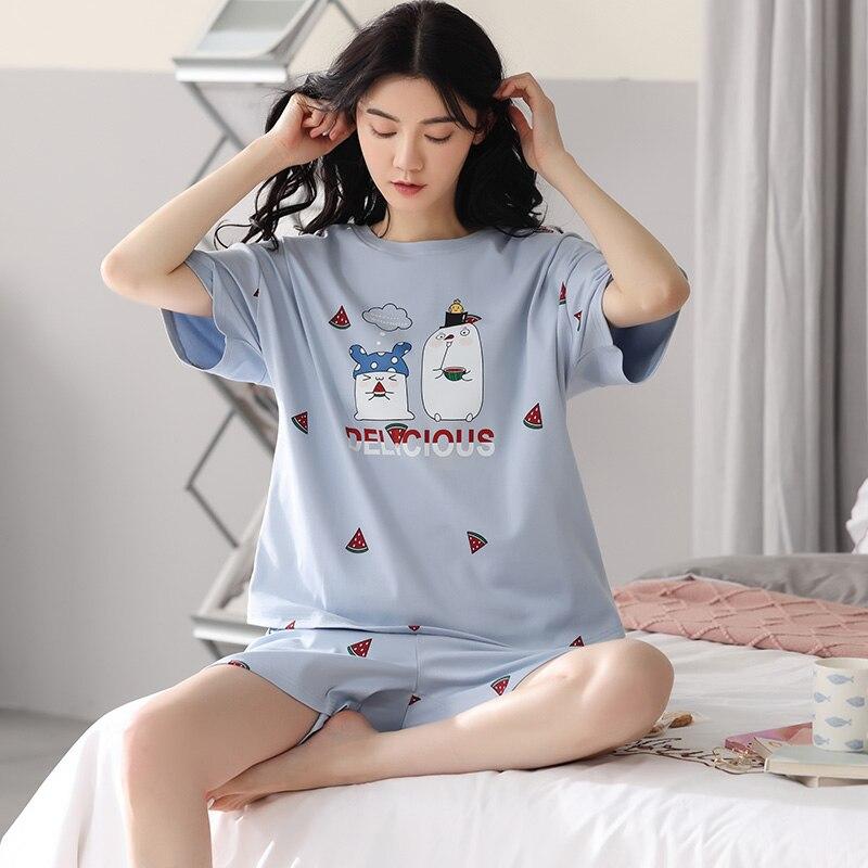 Платье-с-принтом-«арбуз»-пижамы-для-женщин-в-Корейском-стиле-Сезон-лето-Стиль-натуральный-хлопок-футболка-с-короткими-рукавами-и-шорты-То