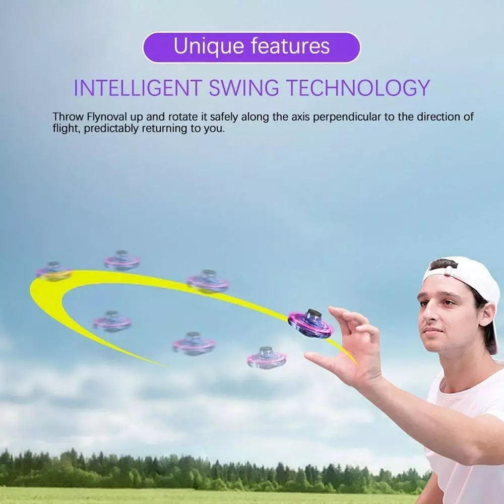 ZK22  LED Flying Spinner Flynova Mini Drone Fingertip Spinner Upgrade Parent-child Flying Gyro Aircraft Fun Interactive Toy Gift enlarge