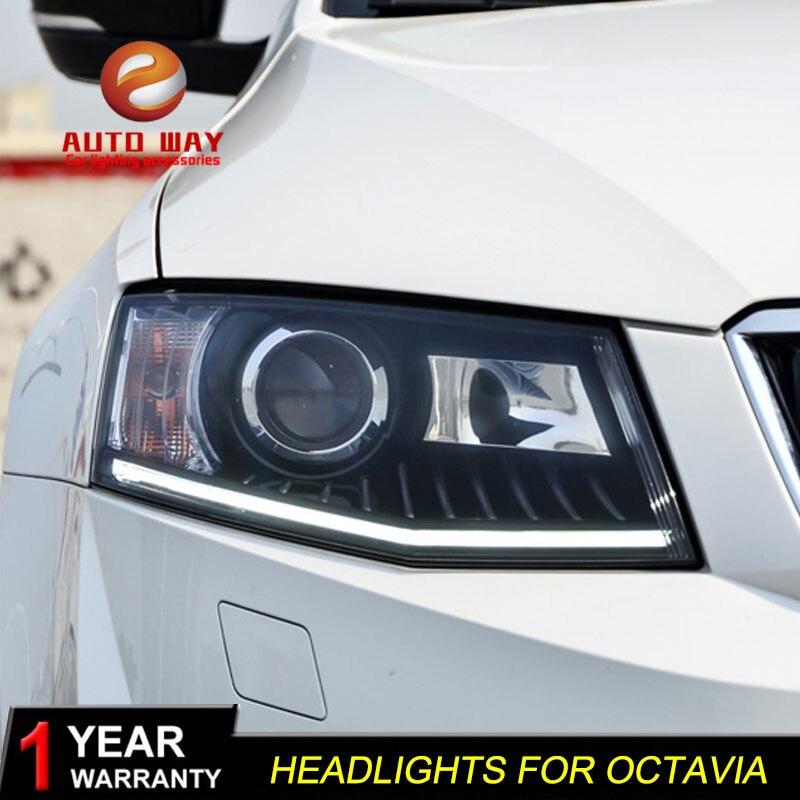 Funda de diseño de coche de alta calidad para Skoda Octavia 2015 faros LED lente DRL doble haz HID Xenon