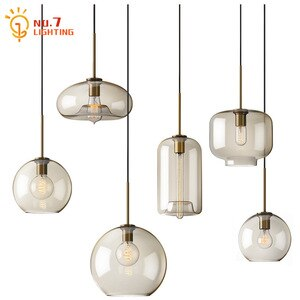 Nordic Luxury Industrial Restaurant Glass Pendant Lights Led E27 Simple Modern Light Fixtures Dining/Living Room Coffee Store