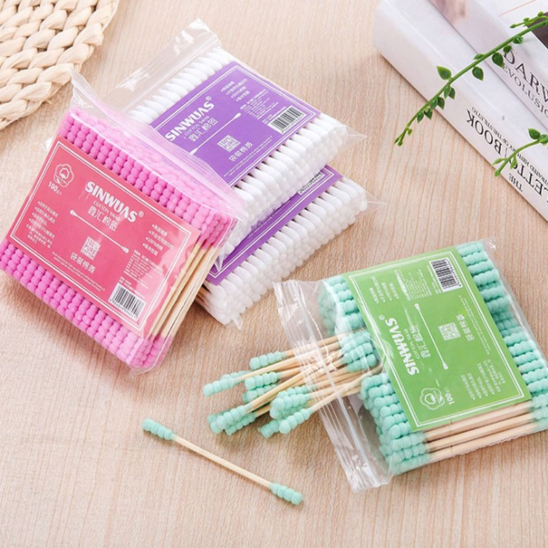 100pcs/Pack Double Head Cotton Swab Women Makeup Cotton Buds Tip Wood Sticks Nose Ears Cleaning Heal