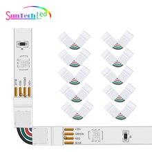 Suntech 10pcs/pack 10mm 4 Pin L Shape Connector For 5050 RGB LED Strip Light 90 Degree Corner LED St