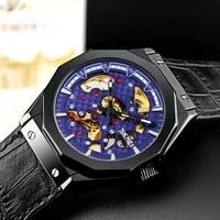 creative mechanical watch mens automatic watches hollow dial waterproof men wristwatch leather strap watch skmei reloj hombre