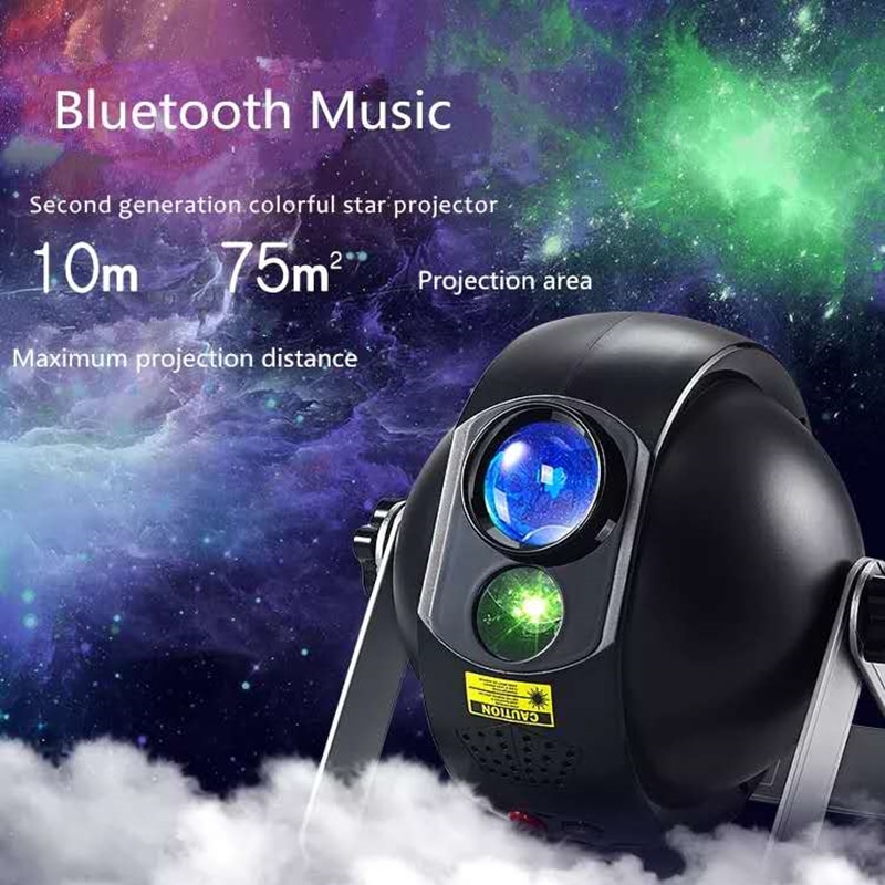 Colorful Night Light Starry Sky Galaxy Projector with Bluetooth Speaker Bedroom Remote Control Dimming Romantic LED Night Light