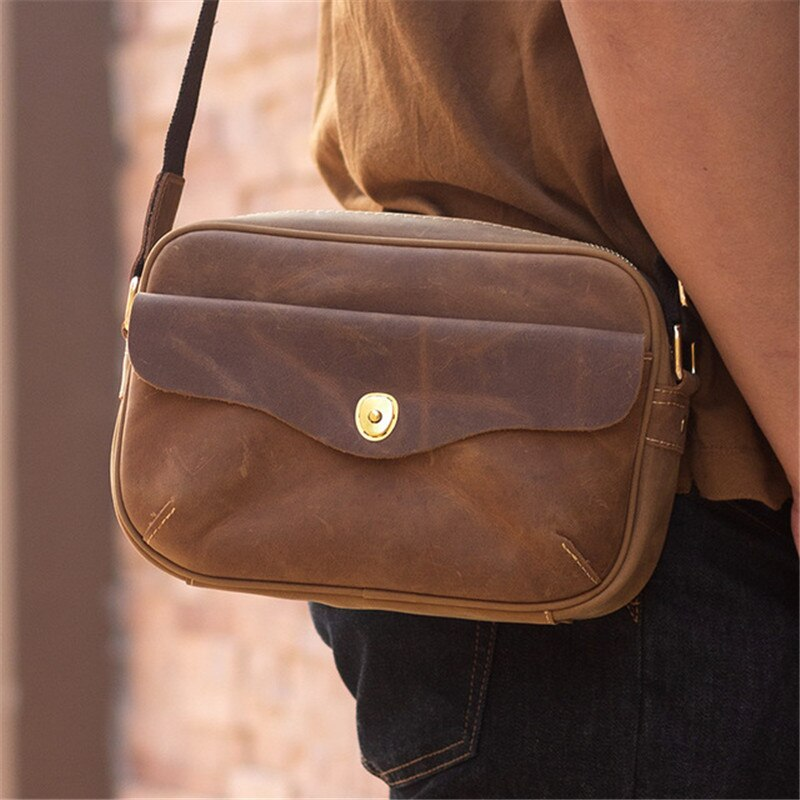 Fashion retro crazy horse leather men's and women's universal shoulder bag daily outdoor weekend party real cowhide diagonal bag