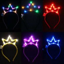 LED Licht Haar Hoop 3D Aushöhlen Crown Blinkt blinkt Tiara Stirnband Mädchen Erwachsene Kinder