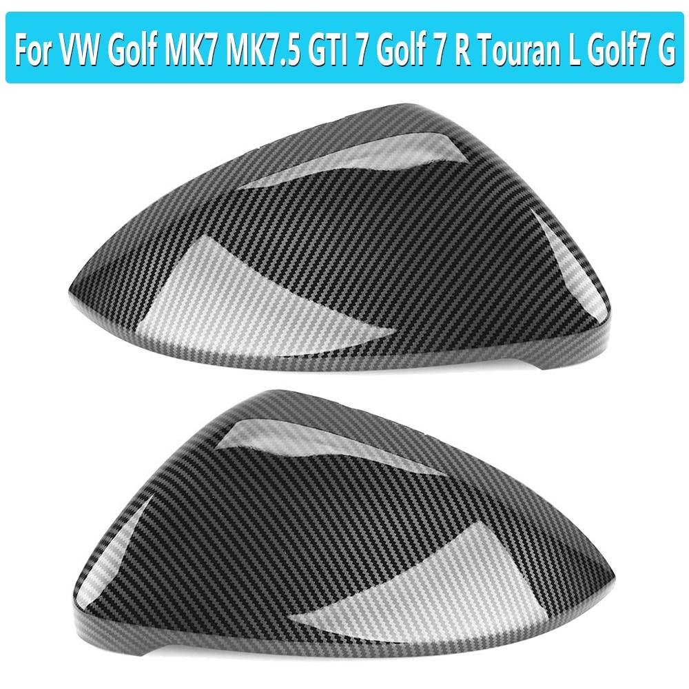 1 par abs fibra de carbono asa espelho capa caps para vw golf mk7 mk7.5 gti 7 r touran l golf7 g