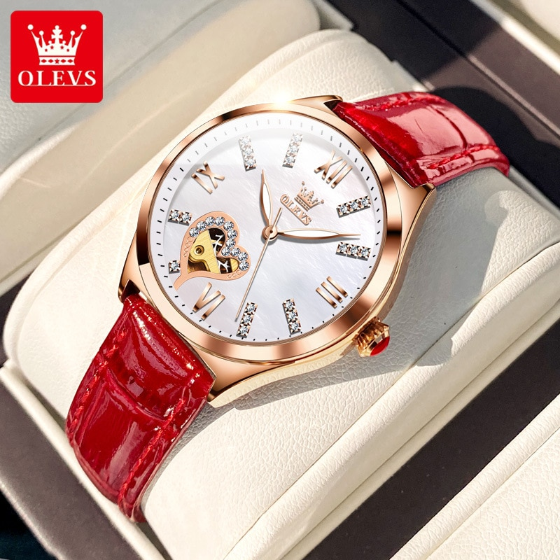 OLEVS Women Mechanical Watch Luxury Brand New Fashion Hollow Out Red Leather Waterproof Automatic Watch Holiday Gift Relogios hollow out faux leather watch