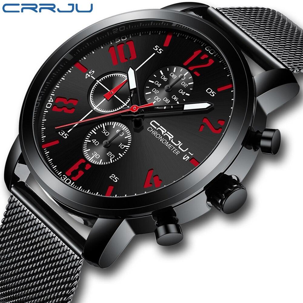 Relógios dos Homens Topo de Luxo Aço à Prova Crrju Marca Negócios Quartzo Relógio Masculino Casual Malha Dwristver Água Esporte Pulso