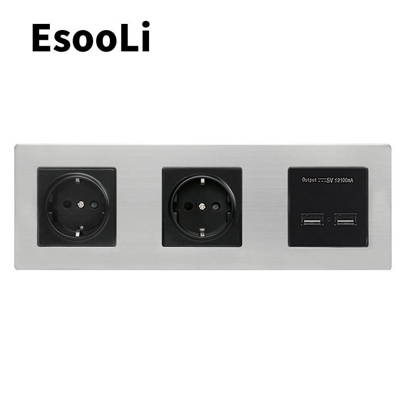 EsooLi-لوحة حائط من الفولاذ المقاوم للصدأ ، مقبس مزدوج ، 16 أمبير ، منفذ شحن USB مزدوج ، مخرج 5 فولت 2 أمبير ، معيار الاتحاد الأوروبي