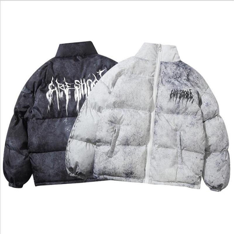 Куртка-бомбер мужская с подкладкой, уличная одежда в стиле Харадзюку, хлопковая парка в стиле хип-хоп, зимняя пуховая верхняя одежда с графф...