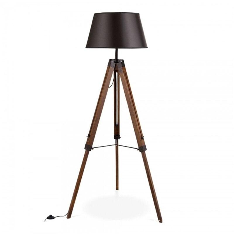 Personalidade moderna e minimalista retrátil alta e baixa de madeira maciça lâmpada de assoalho sala de estar do hotel amostra de madeira de três patas