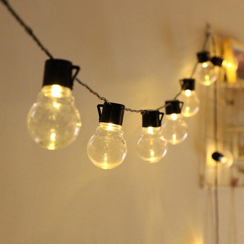 Рождественская светодиодная гирлянда с круглыми лампочками, Рождественская уличная гирлянда с лампочками для свадьбы, уличная лампа на со...