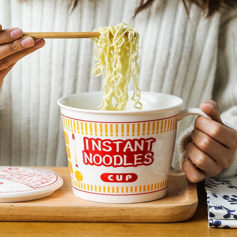 وعاء المعكرونة الخزفي مع غطاء ، إبداعي ، كبير ، طعام الحبوب ، وعاء حساء الأرز ، آمن عنبر الطلاب